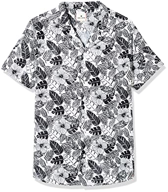 e2ad97f2f3 Rebel Canyon Young Mens Short Sleeve Allover Tropical Print Camp Shirt