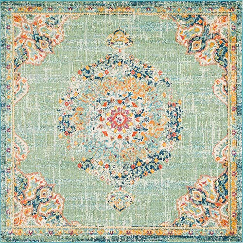 Unique Loom Penrose Collection Traditional Vintage Distressed Green Square Rug 8 0 x 8 0