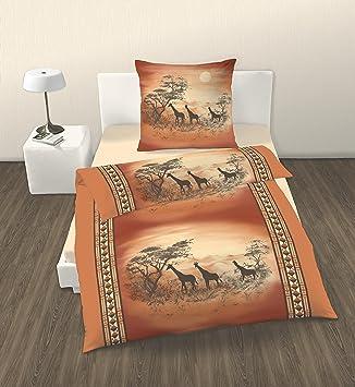 2 pices linge de lit parure housse de couette 135 x 200 cm afrique safari coton