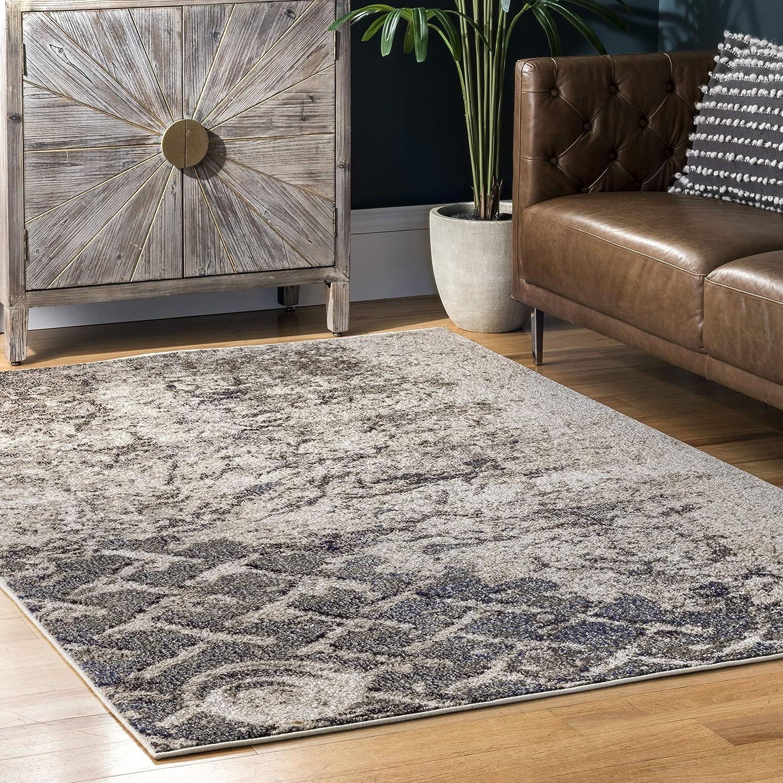 Amazon Com Nuloom Colette Distressed Abstract Trellis Area Rug 5 3 X 7 7 Grey Furniture Decor
