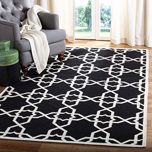 Safavieh Dhurries Collection DHU548L Hand Woven Black and Ivory Premium Wool Area Rug 10 x 14