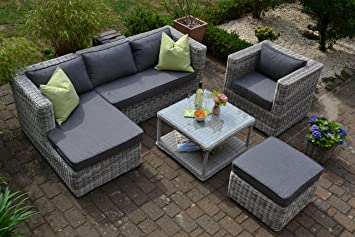 Gartenmöbel set lounge grau  Amazon.de: Bomey Rattan Lounge Set I Gartenmöbel Set Marseille 4 ...