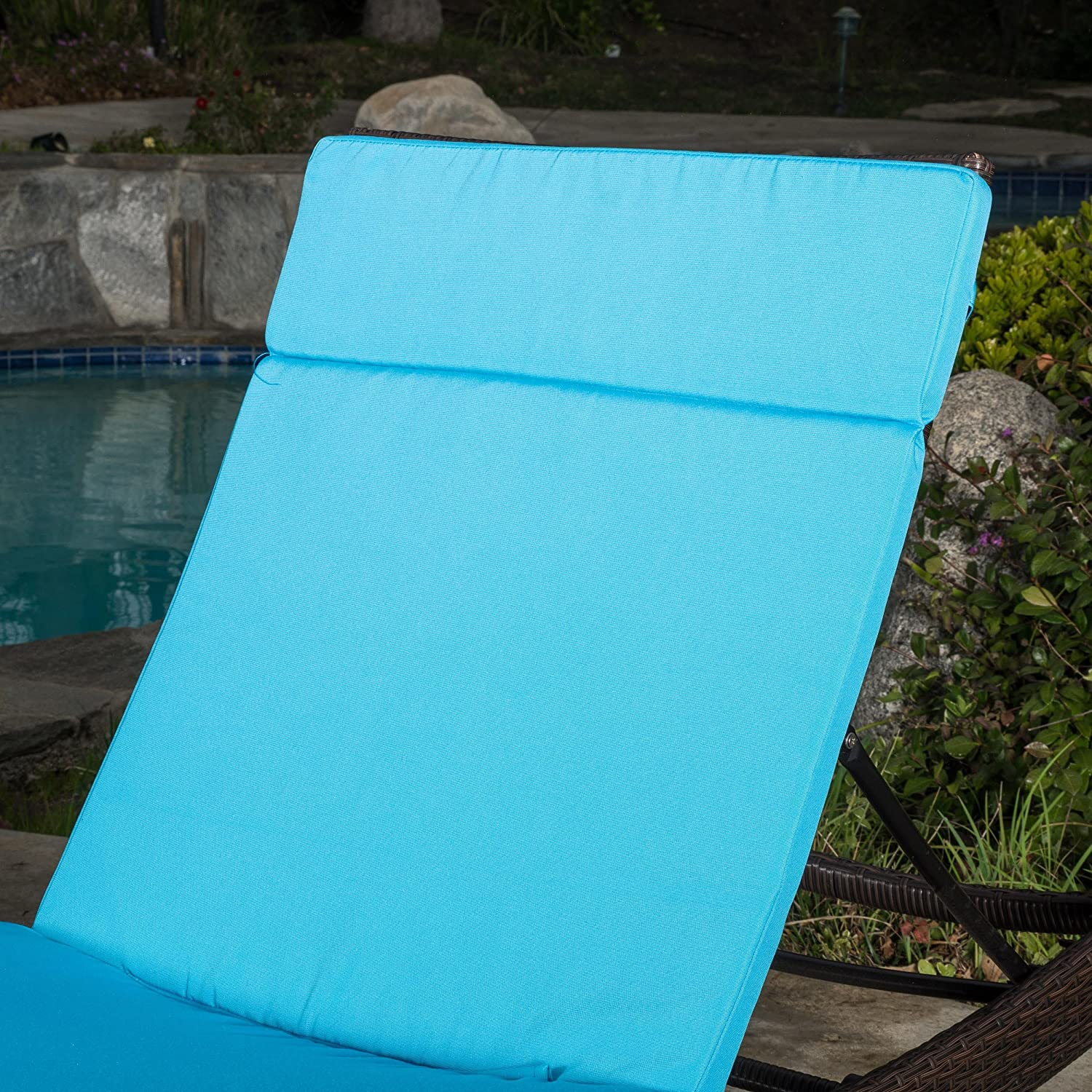 Soleil Outdoor Water Resistant Chaise Lounge Cushion Blue