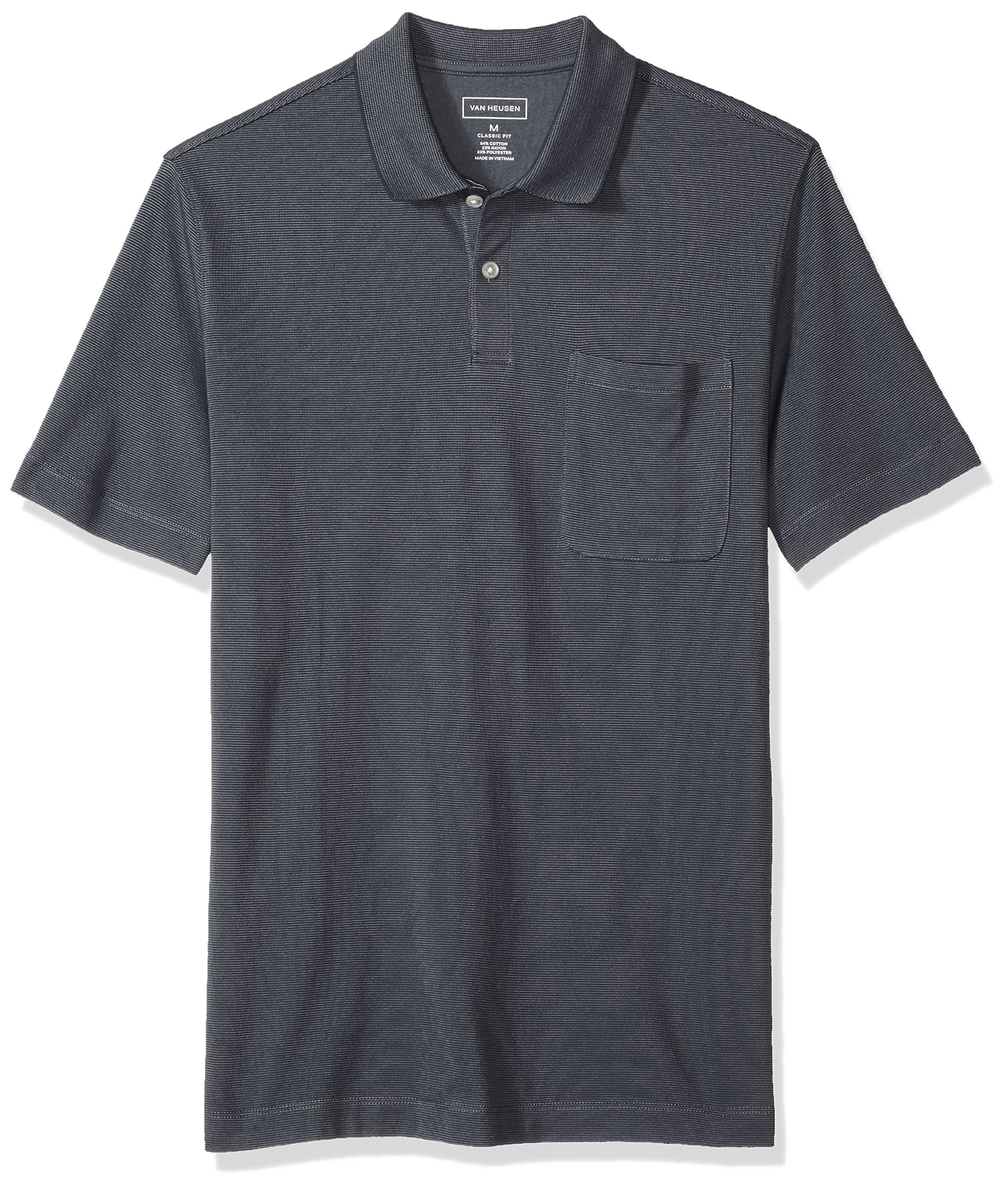 Van Heusen Men's Jacquard Stripe Short Sleeve Polo, Iron Gate, Large