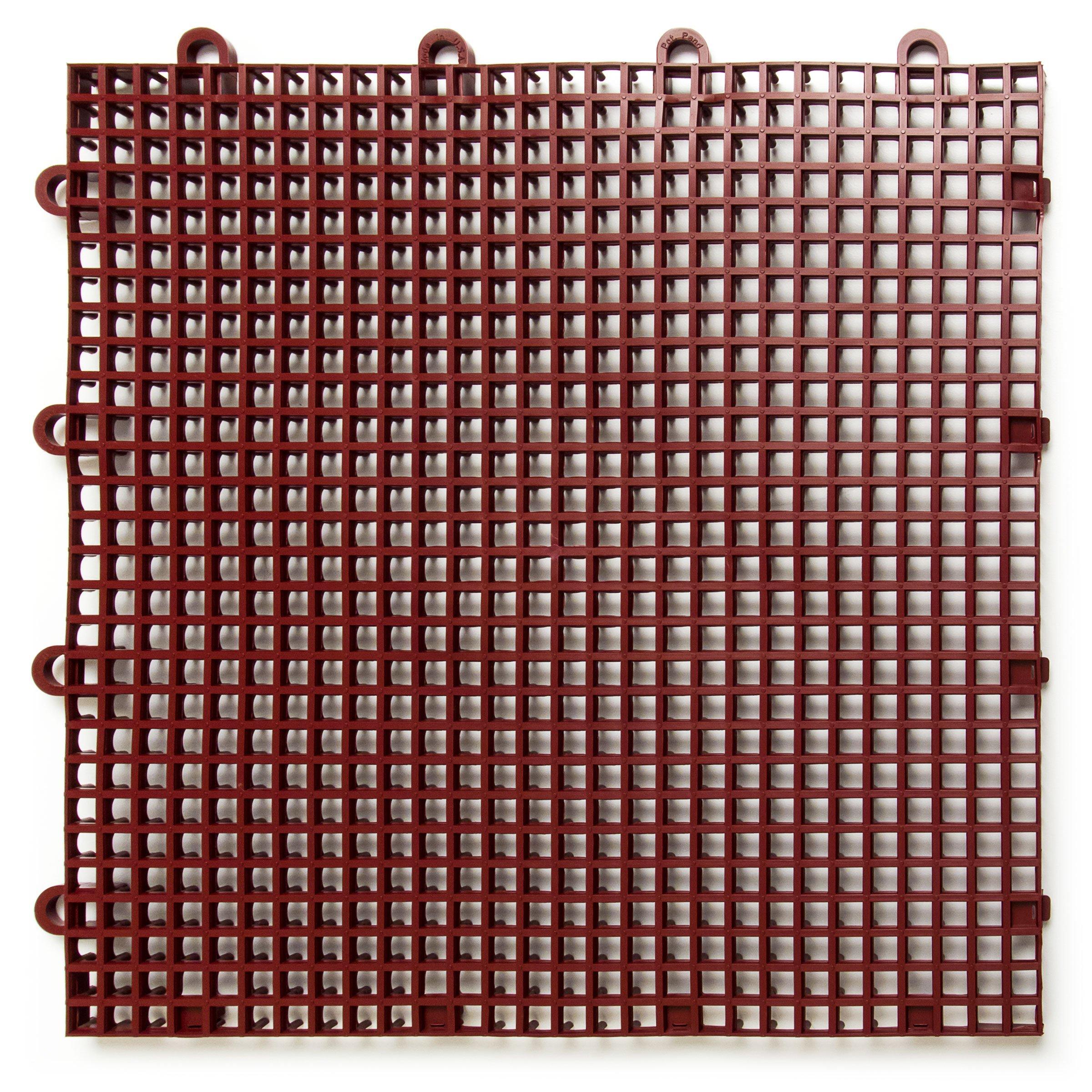 DuraGrid STBRIK Comfort Interlocking Modular Multi-Use Safety Floor Matting, Single Tile, Brick Red by DuraGrid® (Image #1)