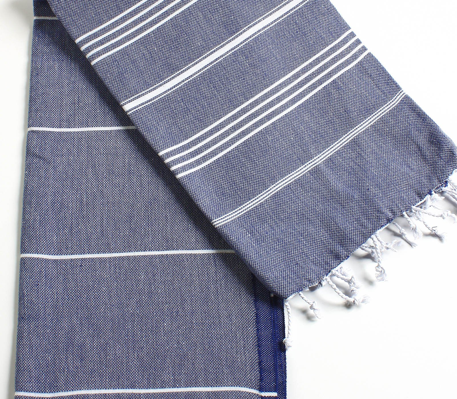 Cacala 100% Cotton Pestemal Turkish Bath Towel, 37 x 70, Dark Blue by Cacala (Image #6)