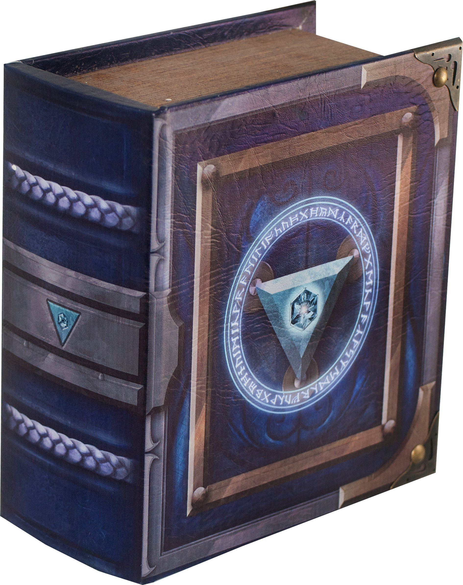 Grimoire Pro Tour, Arbiter | Wooden Spellbook Style Fabric Lined Portable Deck Box for MTG, Yugioh, and Other TCG | 350+ Card Capacity by Wizardry Foundry