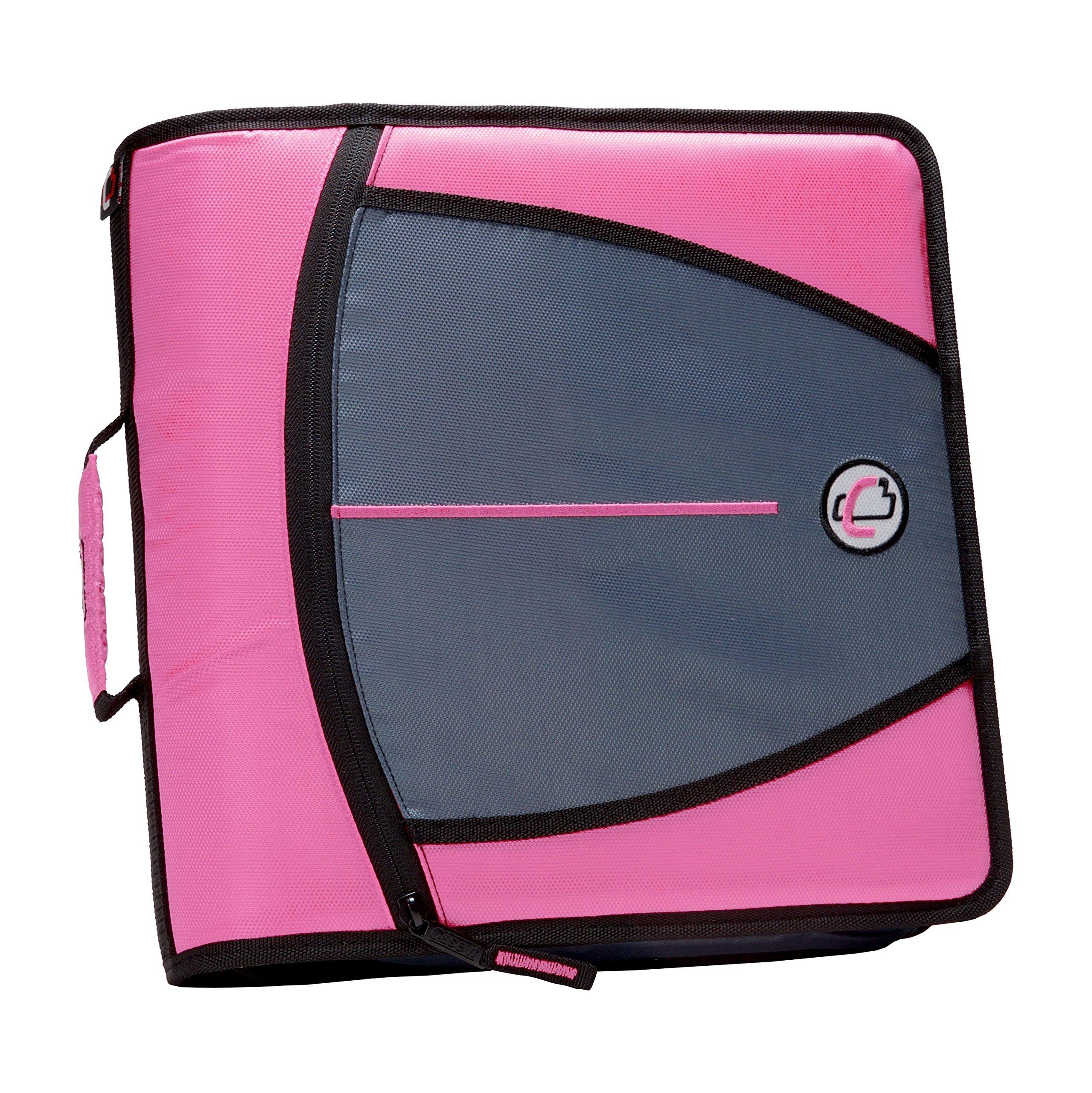 Case-it Mighty Zip Tab 3-Inch Zipper Binder, Pink, D-146-PNK