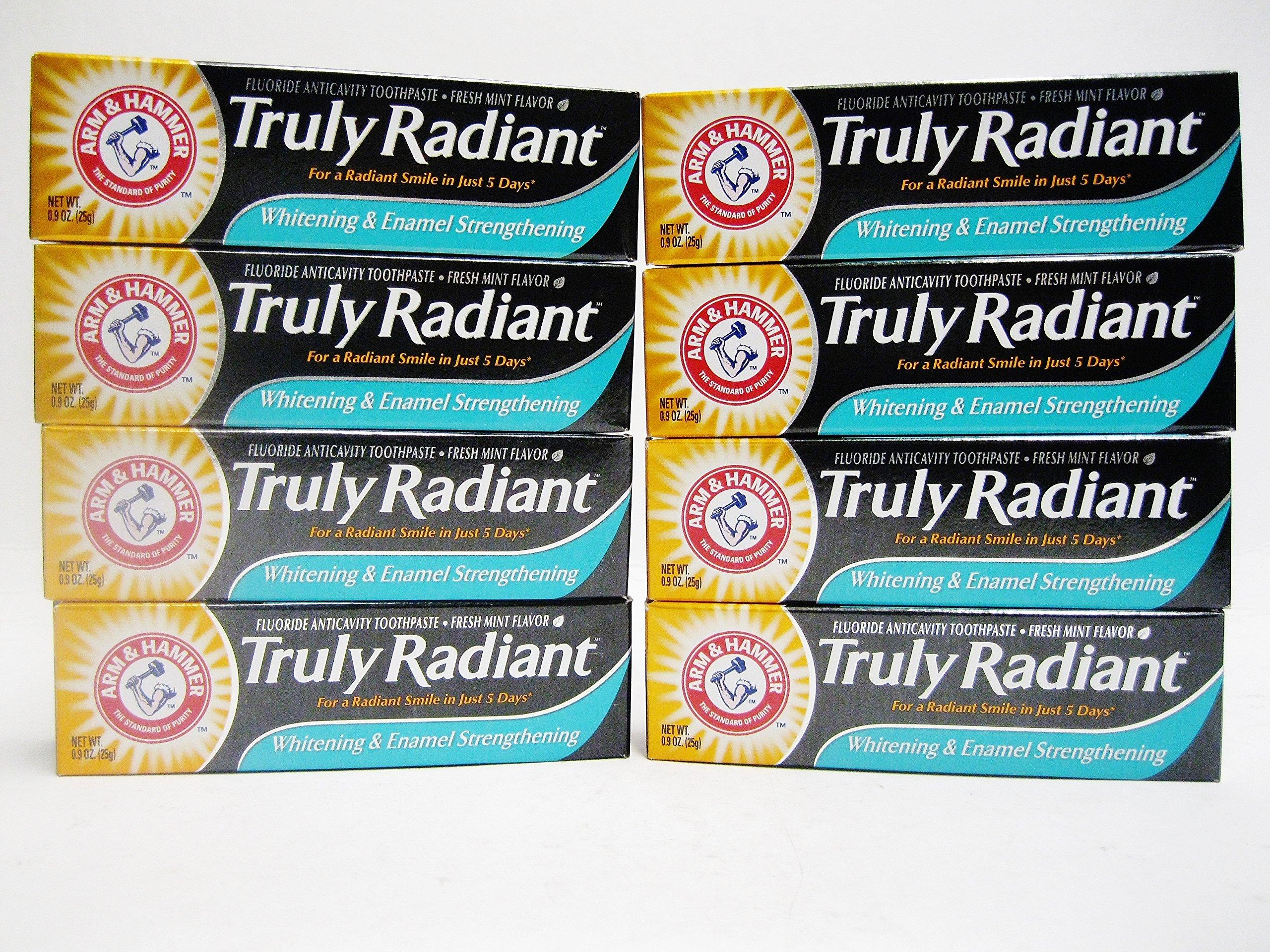 Arm & Hammer Truly Radiant Whitening & Enamel Strengthening Toothpaste Travel Size 0.9oz = 25gr (8 pack)
