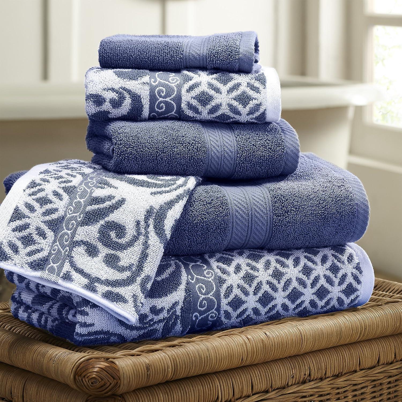 Amrapur Overseas Trefoil Filigree Yarn Dyed Indigo Towel Set