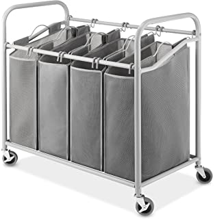 Whitmor 4 Section Laundry Sorter Cart Heavy Duty, Durable Metal Frame U0026  Handles