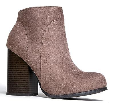 Classic Chunky Heel Bootie – Comfortable Western Closed Toe Boot – Zipper Low Heel Casual Shoe – Eden by
