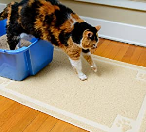 """CleanHouse Premium Cat Litter Mat, Phthalate Free, Extra Large 36""""x24"""", Cat Mat Stops All Kitty Litter Tracking and Scatter From Cat Litter Box"""