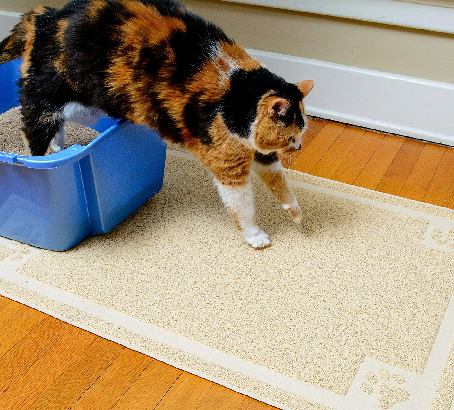 Beige CleanHouse Premium Durable Cat Litter Mat, (36x24) XL Size, Non Slip   100% Phthalate Free Cat Mat, Stops Kitty Litter Tracking and Scatter from Cat Litter Box   Extra Large