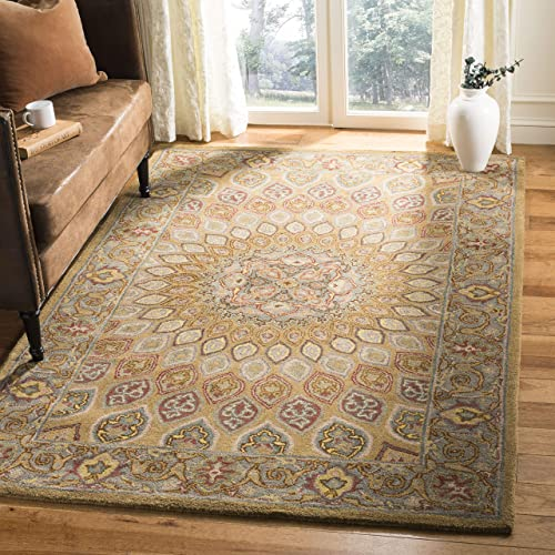Safavieh Heritage Collection HG914A Handcrafted Traditional Oriental Light Brown and Grey Wool Area Rug 5 x 8