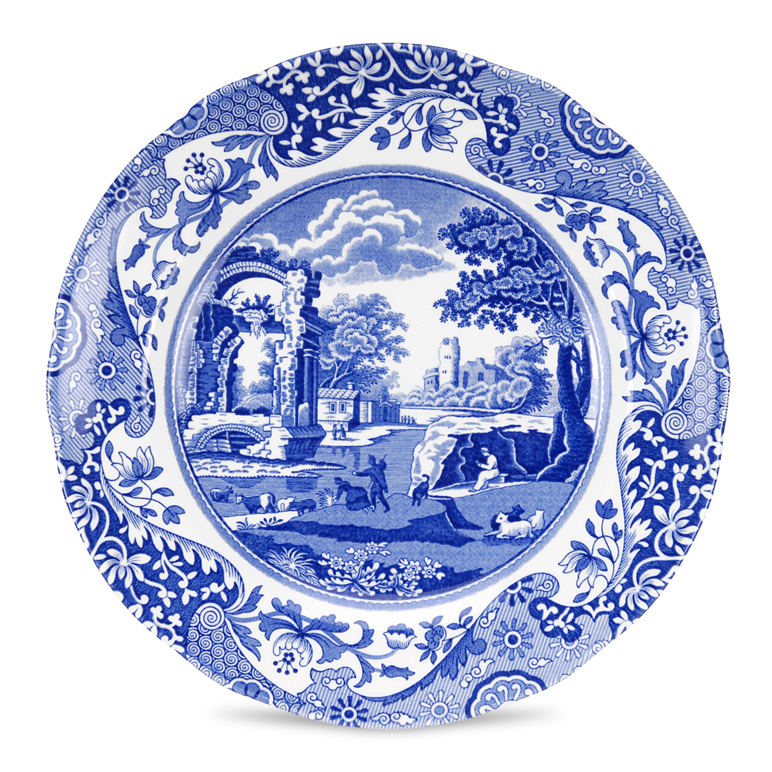 Spode 749151489653 Blue Italian Salad Plate, Blue/White, 8''