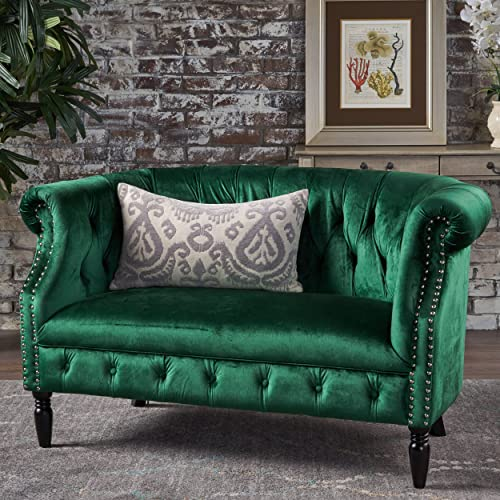 Christopher Knight Home Milani Tufted Scroll Arm Velvet Loveseat, Emerald Dark Brown