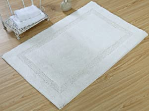 Saffron Fabs SPA Bath Rug 100% Soft Cotton, Size 34x21 Inch, Latex Spray Non-Skid Backing, Solid White Color, Textured Border, Hand Tufted, Heavy 190 GSF Weight, Machine Washable