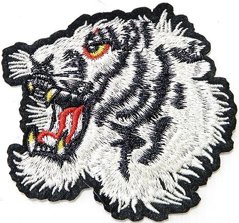 Head White Tiger Bengal Big Cat Parche de animal salvaje para ...