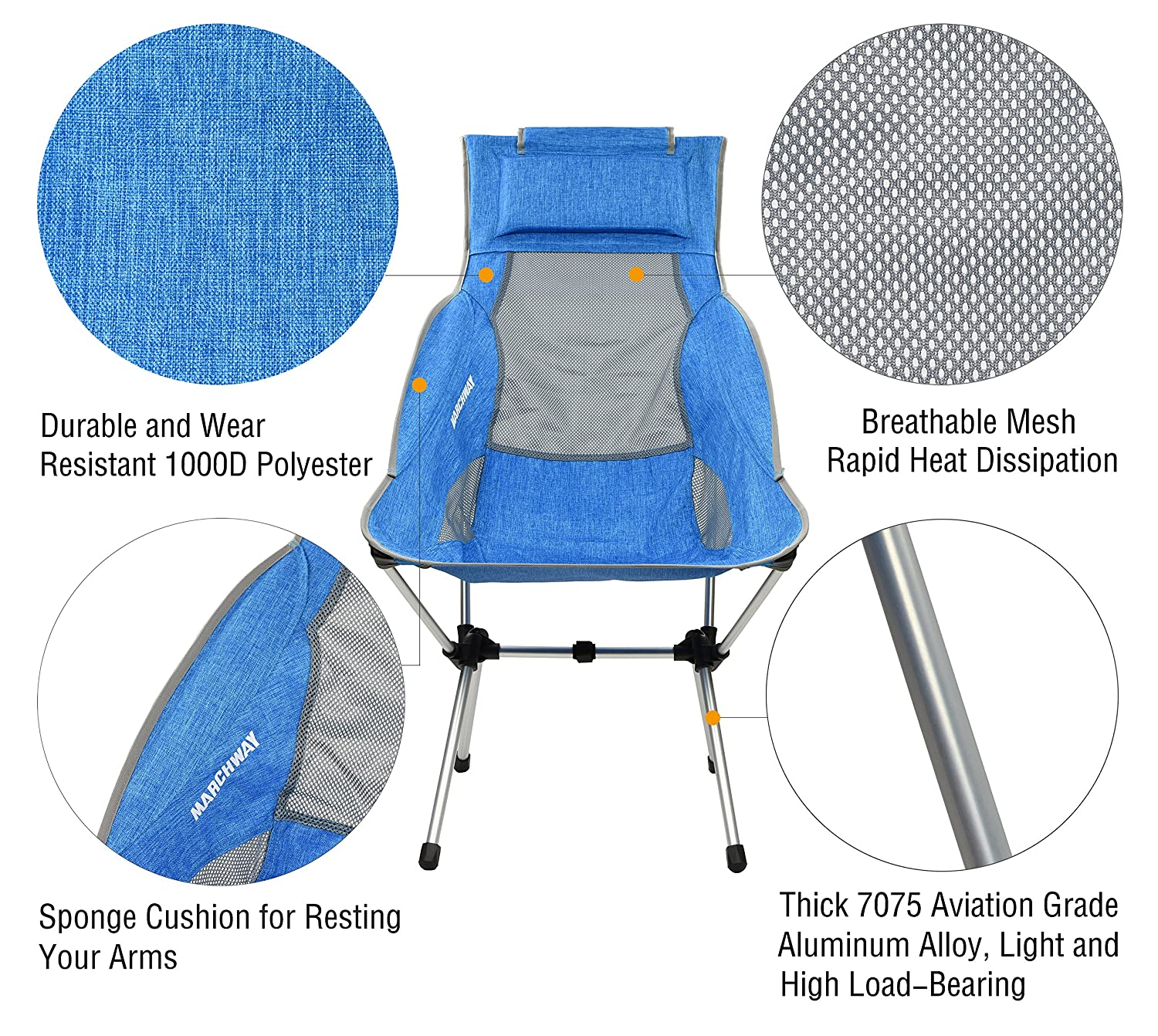 Amazon.com : MARCHWAY Portable Lightweight Folding High Back Camping Chair  With Headrest For Outdoor Travel, Sport, Beach, Party, Hiking, Backpacking  (Light ...