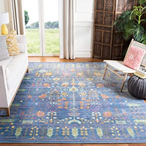 Safavieh Valencia Collection VAL108M Blue and Multi Vintage Distressed Silky Polyester Area Rug (8' x 10')