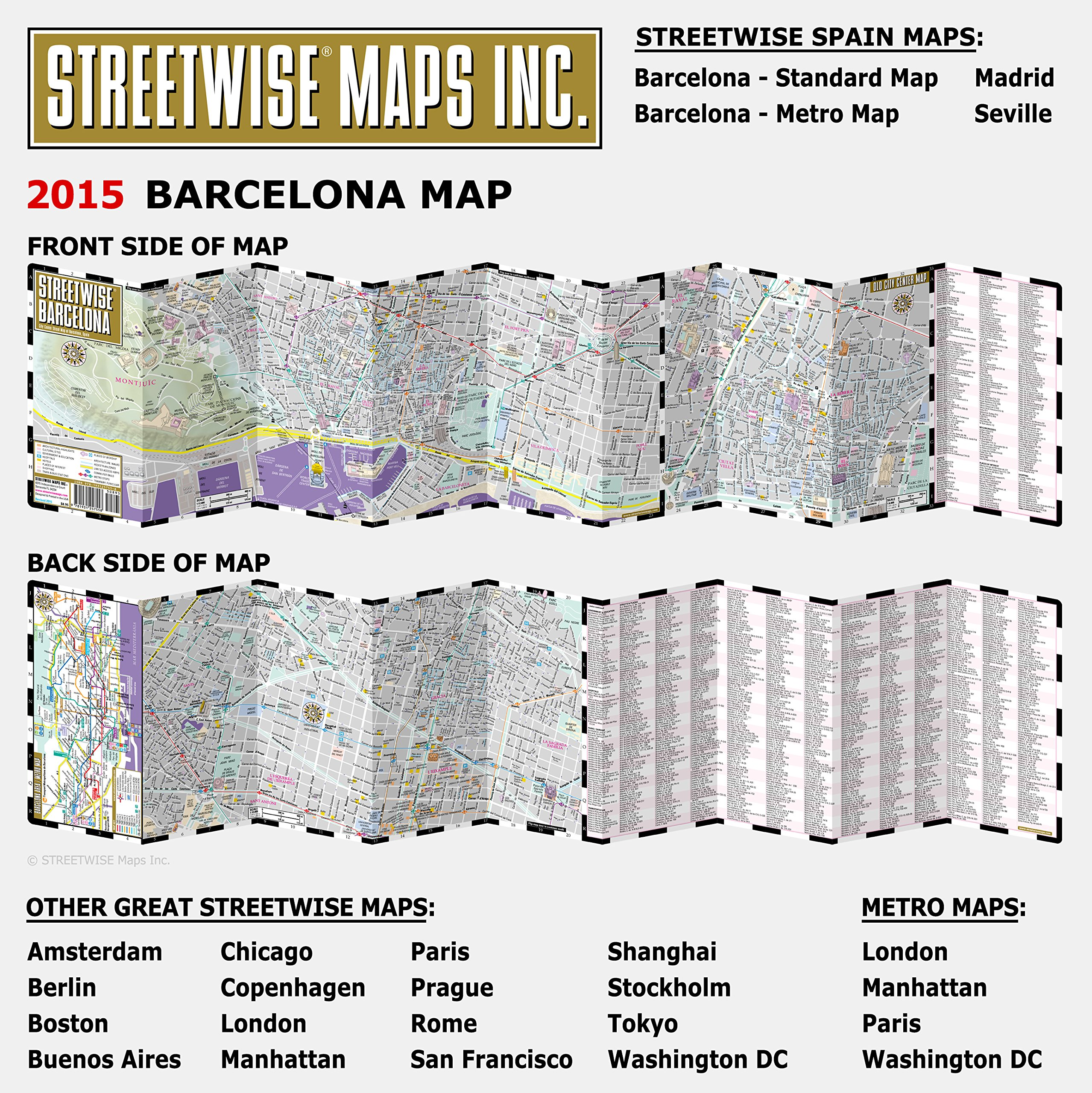 Streetwise Barcelona Map Laminated City Center Street Map Of - Chicago map amazon