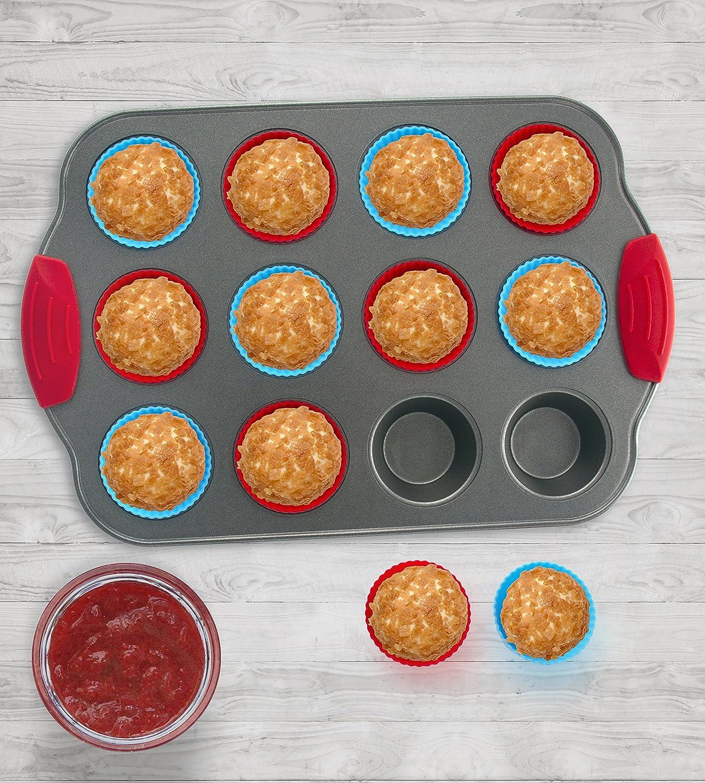 Molde de Silicona para hornear 12 Muffins y Paquete de 12 Cápsulas para Muffin de Boxiki Kitchen |Accesorios Profesionales Antiadherentes|Charola de Acero ...