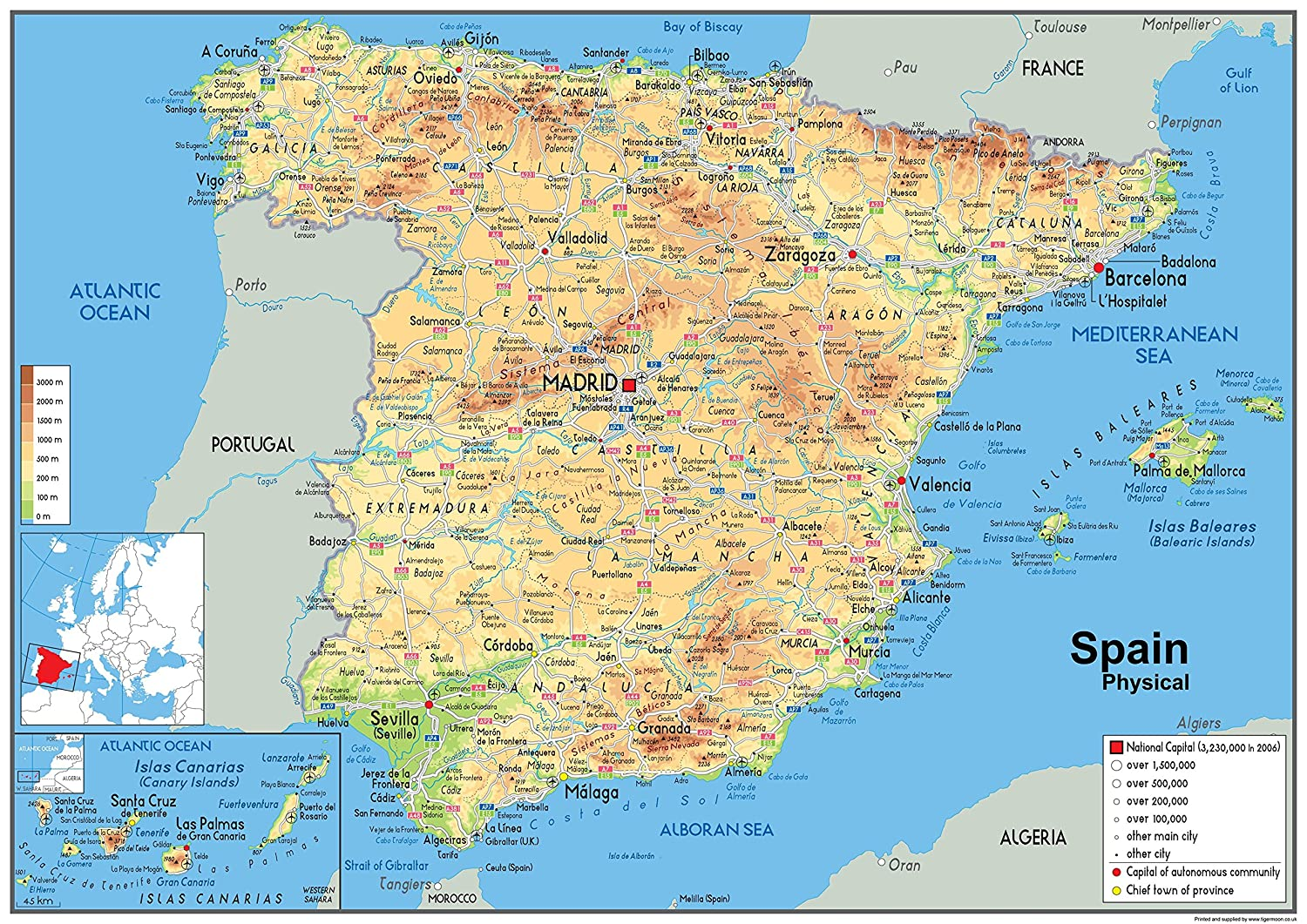 Map Of Spain Almeria.Spain Physical Map Paper Laminated A2 Size 42 X 59 4 Cm