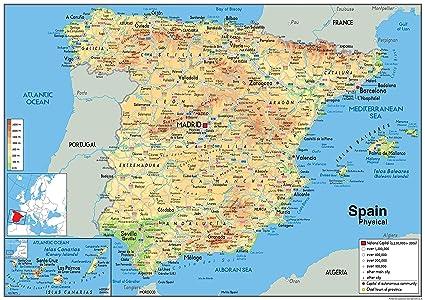 Cartina Della Spagna.Spagna Mappa Fisica Vinyl A0 Dimensioni 84 1 X 118 9 Cm