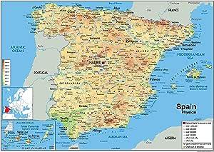 Mapa físico de España, laminado de papel, tamaño A1, 59,4 x 84,1 cm: Amazon.es: Oficina y papelería