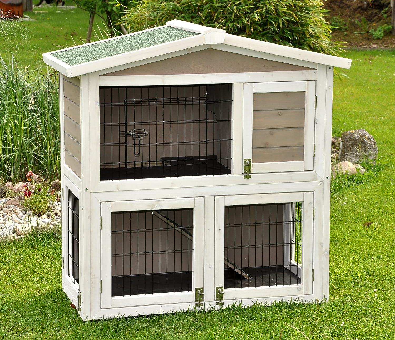 nanook clapier cage lapin en bois Flocon 2 étages - jolies couleurs - gris blanc - Taille L 100 x 100 cm