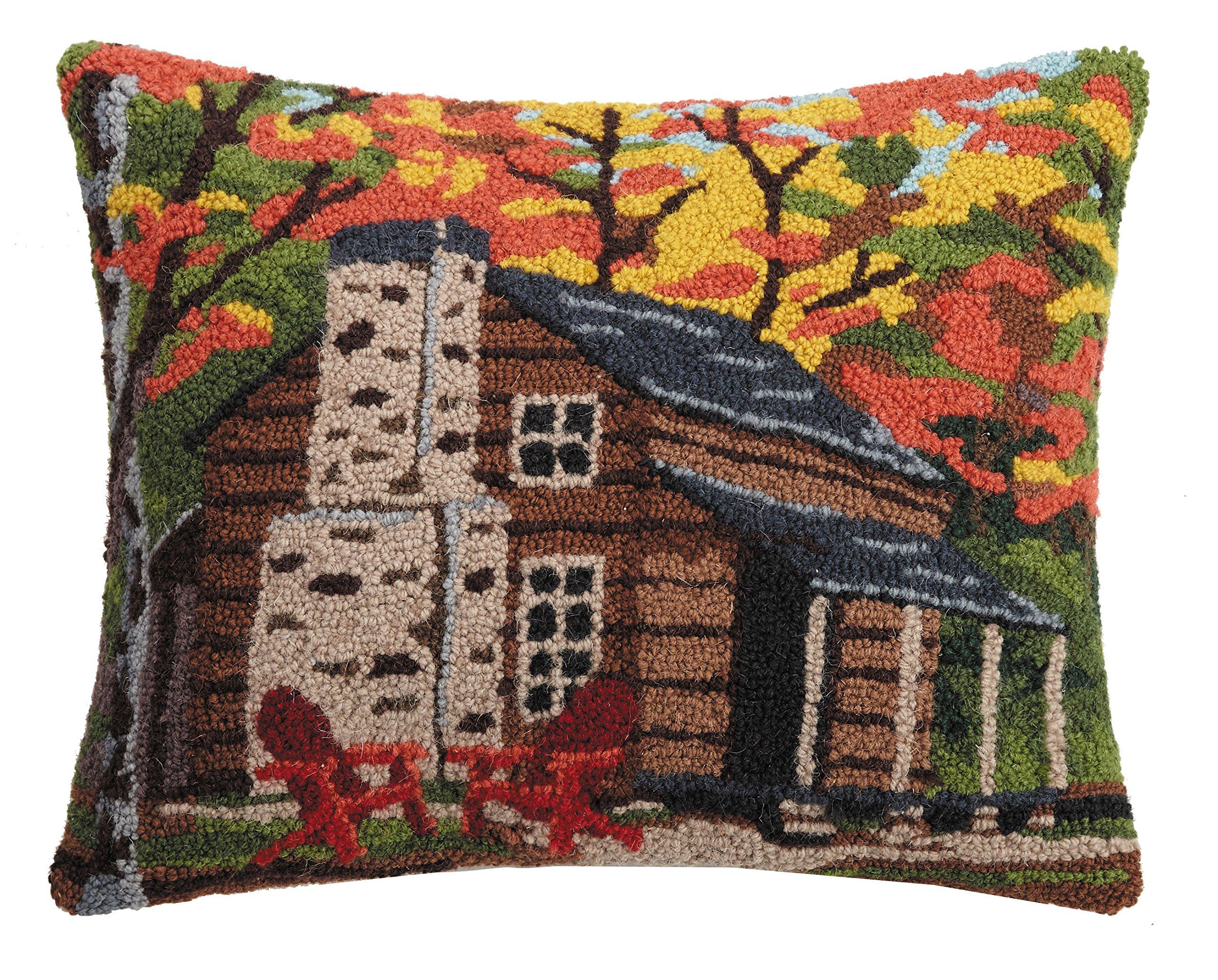 Peking Handicraft Cabin in the Woods Hook Pillow, 16x20'' Throw