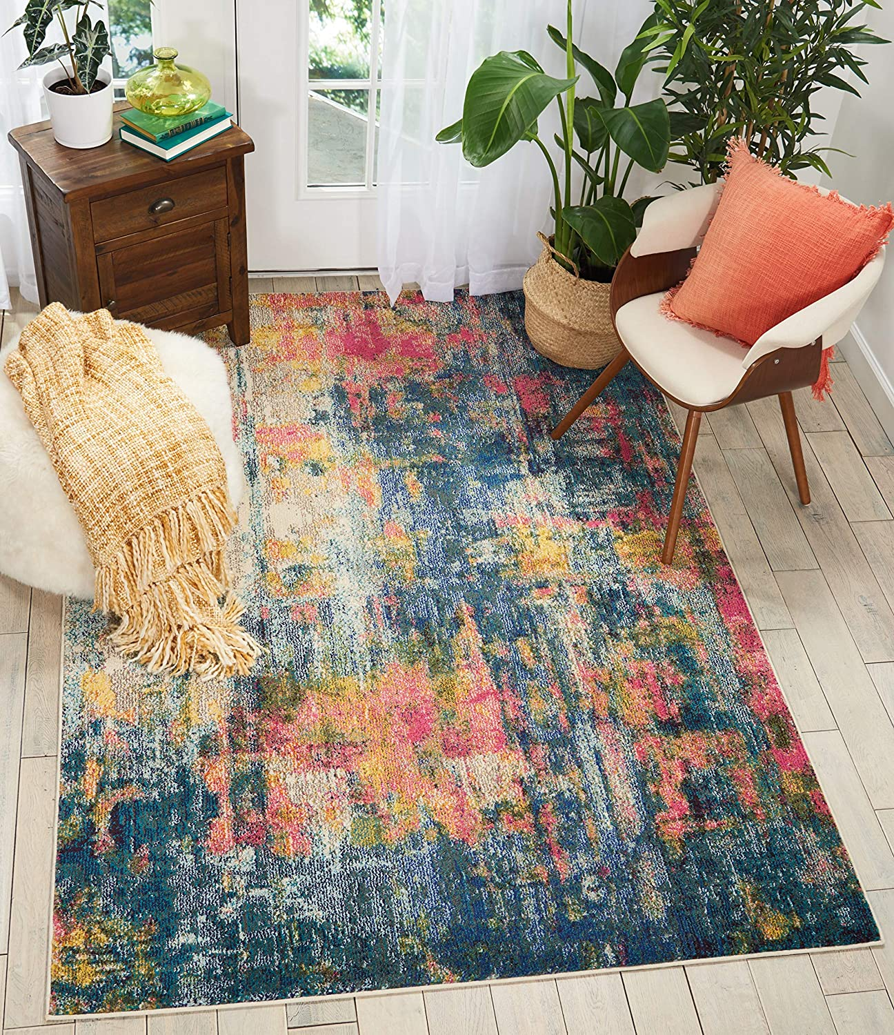 "Nourison Celestial Modern Traditional Area Rug, 5'3""X7'3"", BLUE/YELLOW"