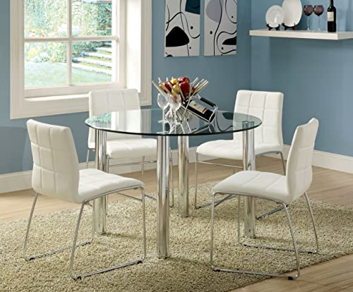 Furniture of America Clarks 5-Piece Dining Set with White Chairs