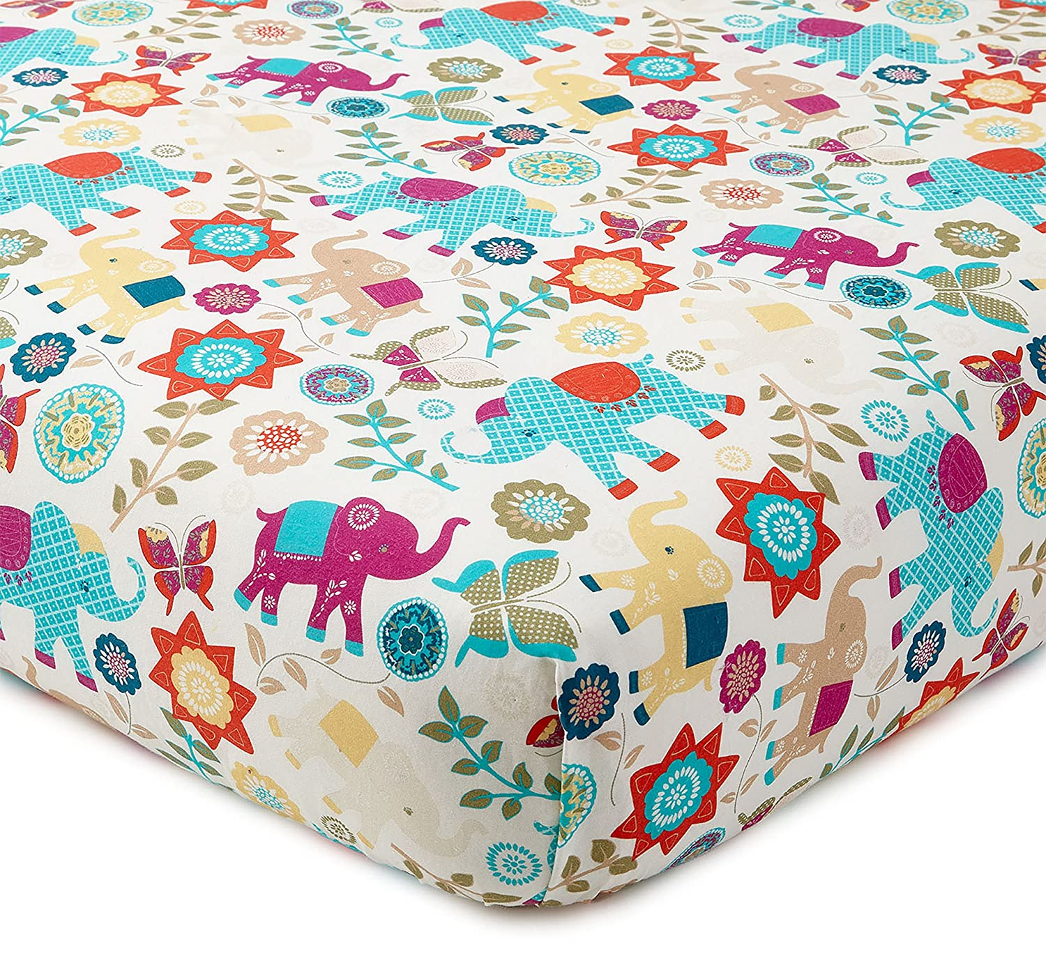 Red 100/% Cotton Teal Orange Nursery Accessories Boho Elephants Leaves and Flowers Yellow Fuchsia Fits Standard Crib and Toddler Mattress Zahara Crib Fitted Sheet Levtex Baby