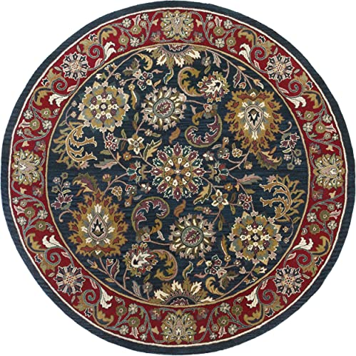 Traditions Kashan Round Rug, 8-Feet by 8-Feet, Navy