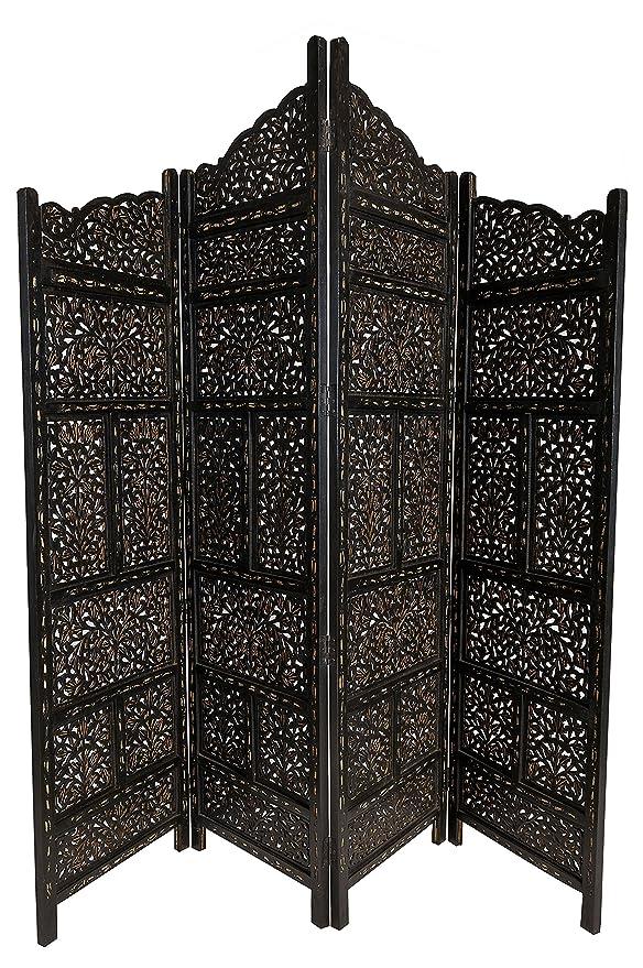 Orientalischer Indischer Paravent Raumteiler Spanische Wand Trennwand Holz hoch
