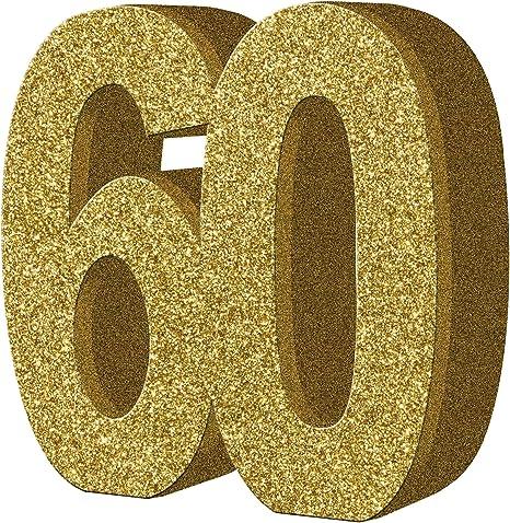 COOLMP – Juego de 12 Adornos de Mesa de 60 años de Oro 20 x 20 cm ...