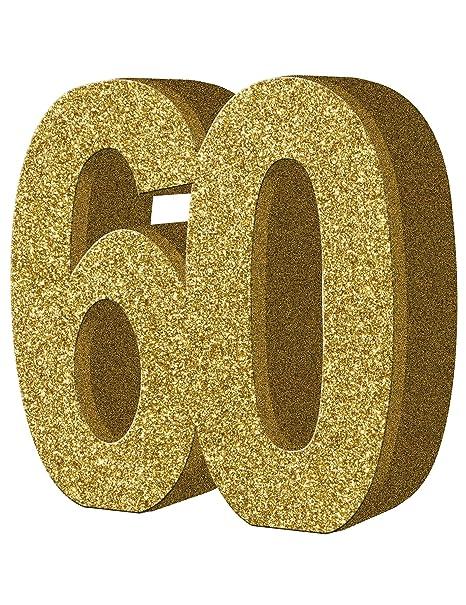 COOLMP - Juego de 6 Decoraciones de Mesa de 60 años de Oro ...