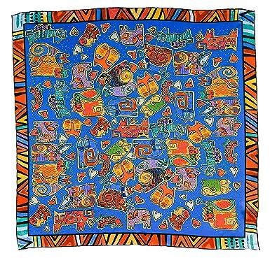 Silk Fedora Pañuelo de Seda 90x90cm. Gatos multicolor. Fácil de conjuntar (Azul)