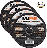 Ram-Pro 4-1/2 Inch Metal Cut-Off Wheel Blades | Abrasive Arbor Grinder Disc Set Ideal for Cutting, Grooving, Sanding and Trimming Ferrous Metal & Steel (10 Pack).