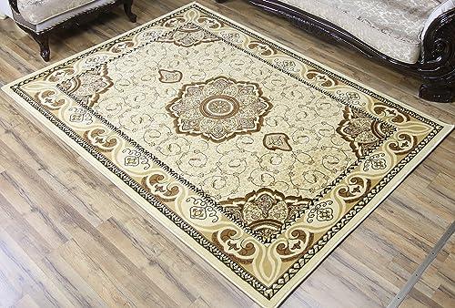 Ivory Beige Brown Classic Oriental Elegant Medallion Symmetric Design Carpet Soft Rug Rectangle Shape Stain Resistant Area Rug 5 x 8