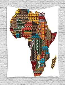 Ambesonne African Decorations Collection, Africa Map with Countries Made of Architectural Feature Popular Ancient Continent Art, Bedroom Living Room Dorm Wall Hanging Tapestry, Multi