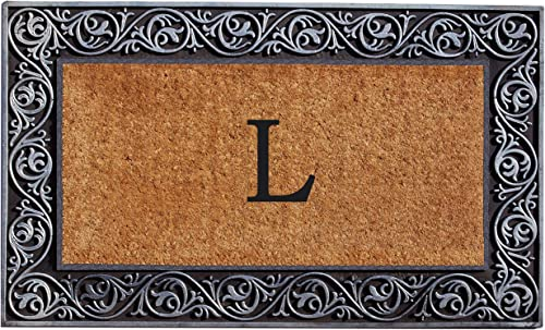 Home More 10002SILVL Prestige Silver Monogram Doormat Letter L