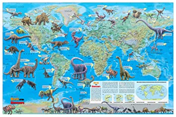 Amazon coolowlmaps world of the dinosaurs wall map poster coolowlmaps world of the dinosaurs wall map poster 36x24 rolled paper kids map 2017 gumiabroncs Images