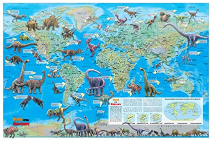 Amazon coolowlmaps world of the dinosaurs wall map poster coolowlmaps world of the dinosaurs wall map poster 36x24 rolled paper kids map 2018 gumiabroncs Images