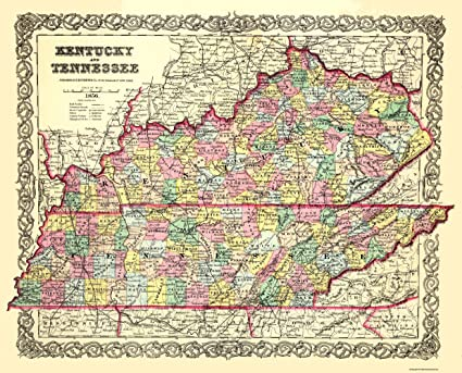State Map Kentucky.Amazon Com Old State Map Kentucky Tennessee Colton 1856 28 5