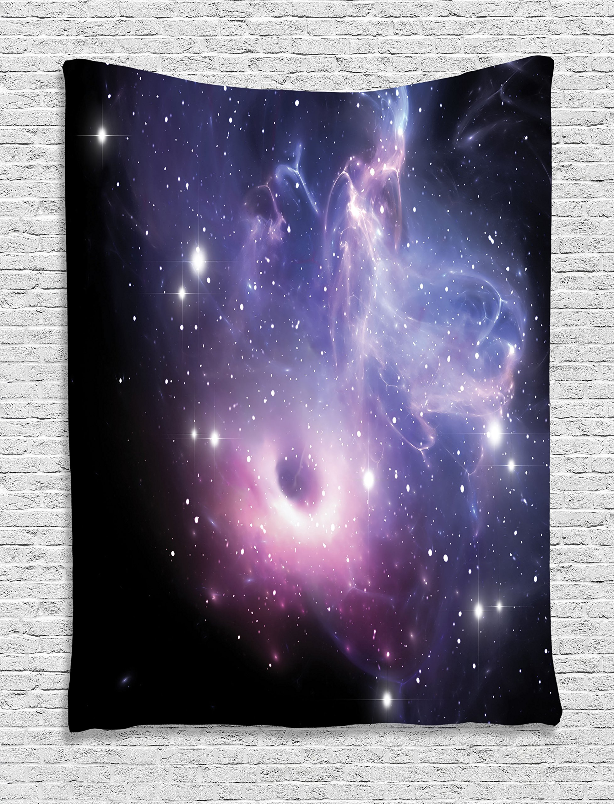 Ambesonne Space Decorations Collection, Black Hole in the Nebula Gas Cloud in Outer Space Universe Astro Solar System Print, Bedroom Living Room Dorm Wall Hanging Tapestry, Navy Purple