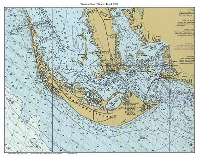 Where Is Sanibel Island In Florida Map.Amazon Com Sanibel Island 1980 Nautical Map Florida Custom Print