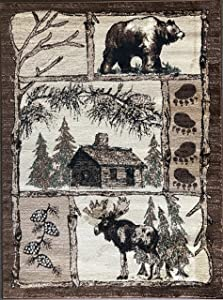 Carpet King Cabin Style Area Rug Bear Elk Country Nature Wilderness Lodge Design 362 (3 Feet 10 Inch X 5 Feet 2 Inch)